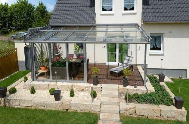 Терраса с прозрачным покрытием крыши