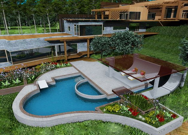 Терраса пристроенная к бассейну