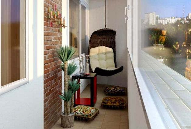 Интерьер балкона в стиле лофт