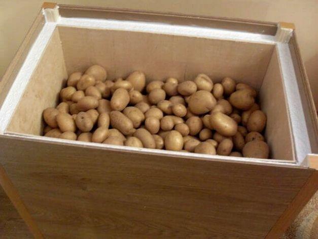 Хранение картошки в ящике на балконе