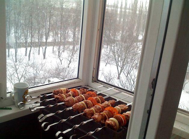 Мангал на закрытом балконе