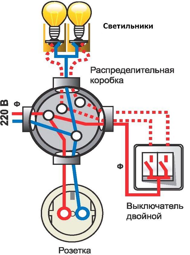 Схема освещения на балконе